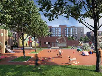 Детская игровая площадка с мягким покрытием